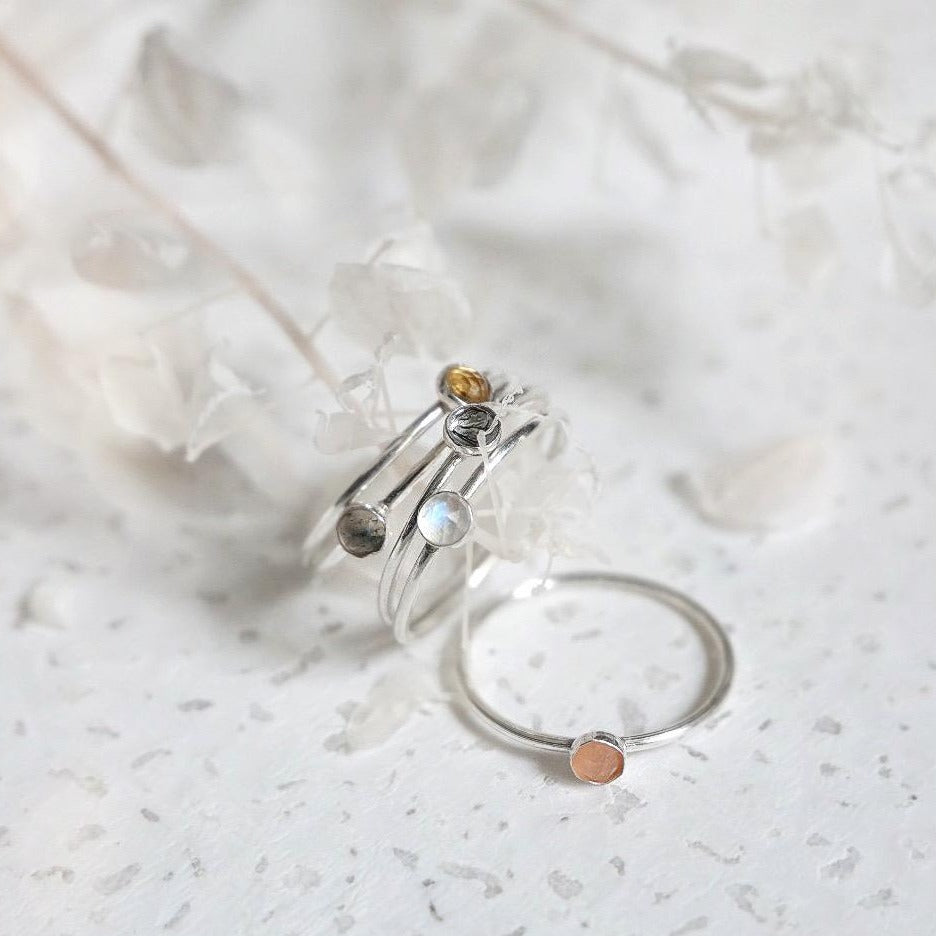 3mm Peach Moonstone Gemstone Ring