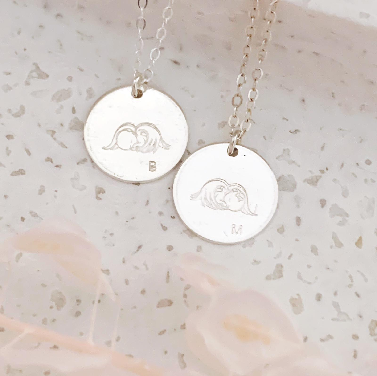 Sleeping Angel Disc Necklace - Large Disc