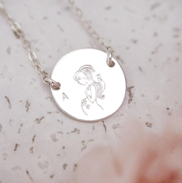 Pregnant Mama Disc Necklace - 2 Holes - Large Disc