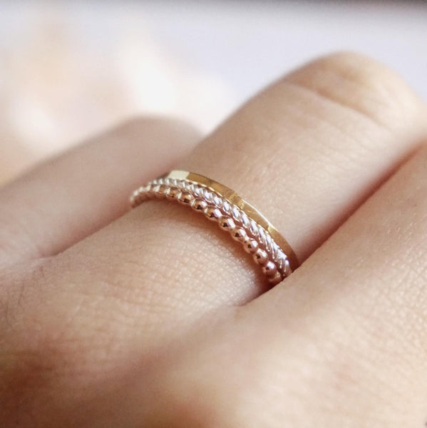 Delilah - Beaded, Hammered & Twist Tri-Tone Rings