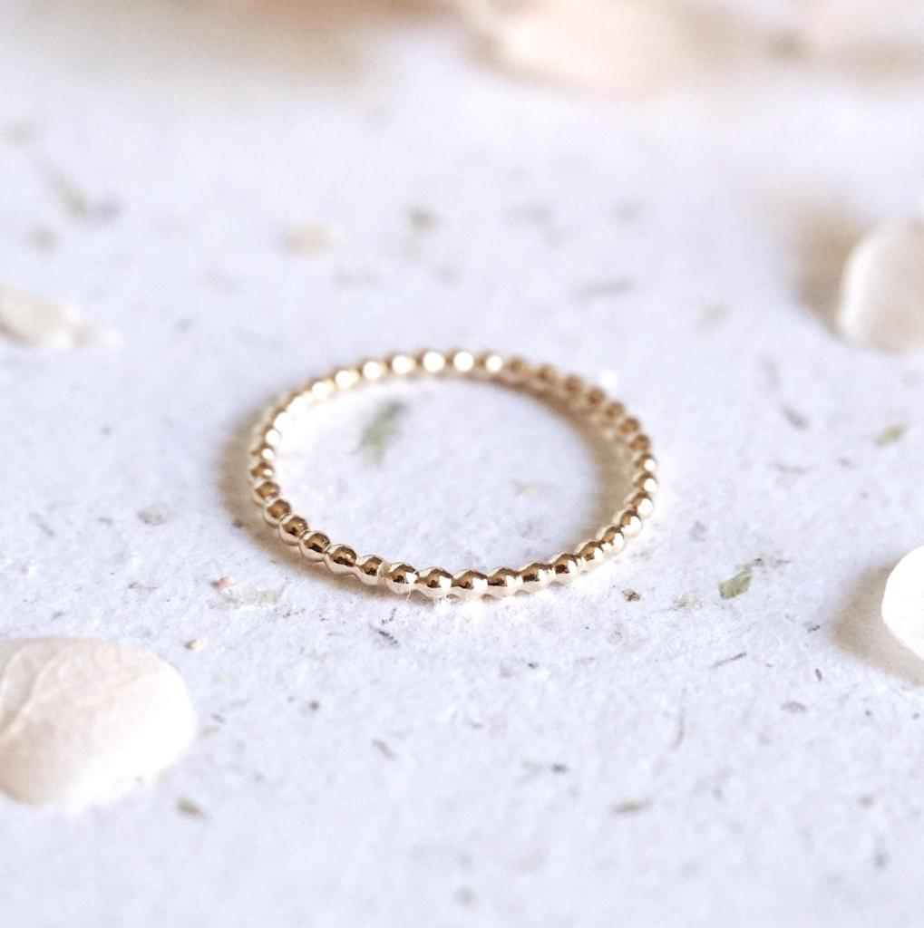 Dainty Beaded Stacking Ring
