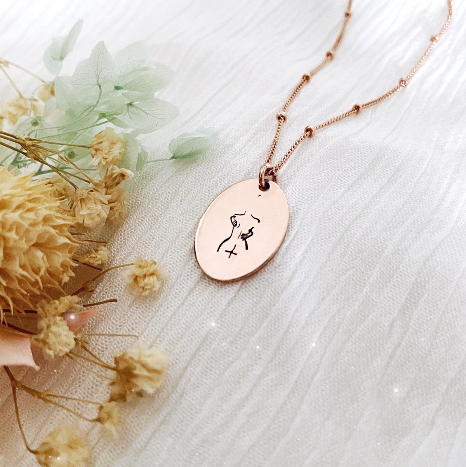 Self Love Necklace - Oval Disc