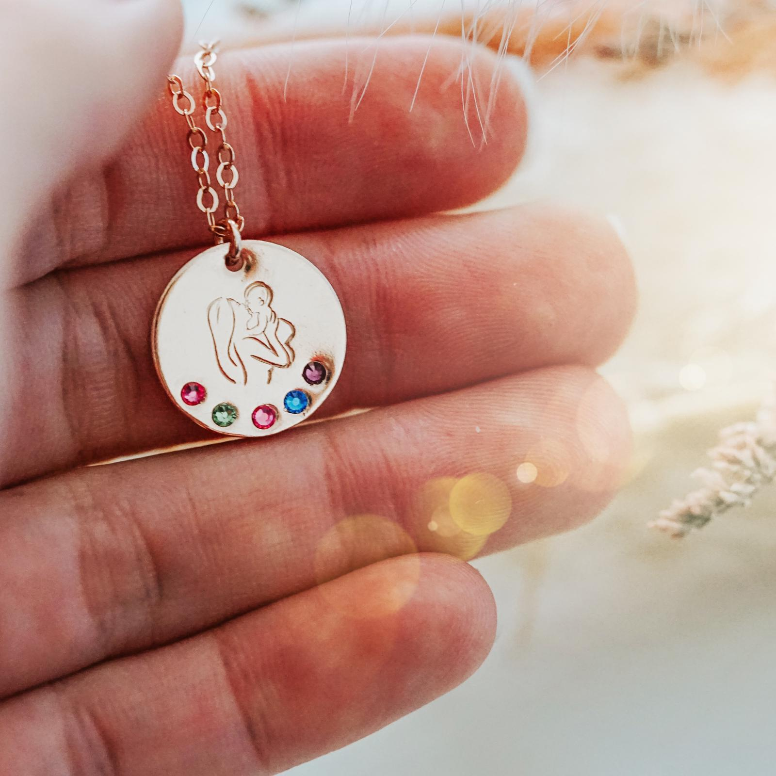 Woman and Child Birthstone Necklace - Large Disc