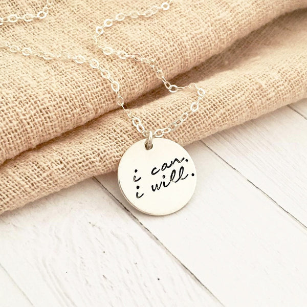 I Can & I Will Necklace - Large Disc - Ekalake Handmade Jewellery