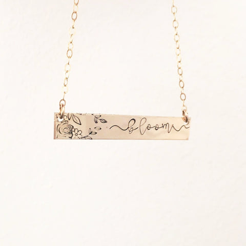 Bloom Affirmation Necklace - Standard Bar - Ekalake Handmade Jewellery