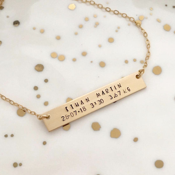 Baby's Birth Bar Necklace - Standard Bar - Ekalake Handmade Jewellery