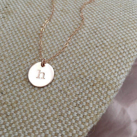 Single Initial Necklace - Midi Disc - Ekalake Handmade Jewellery