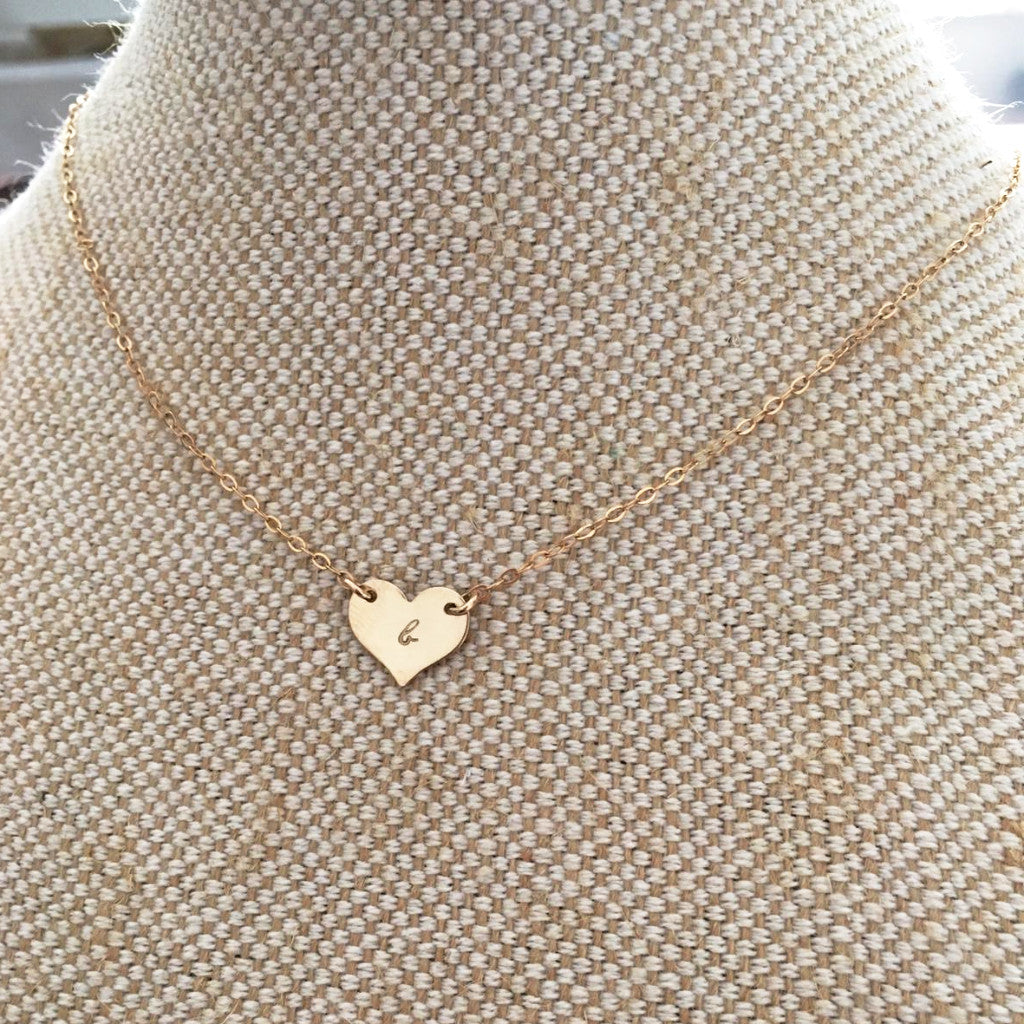 Little Love Heart Necklace - Single Initial Heart - Ekalake Handmade Jewellery