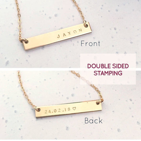 Double Sided Bar Necklace - Petite Bar - Ekalake Handmade Jewellery