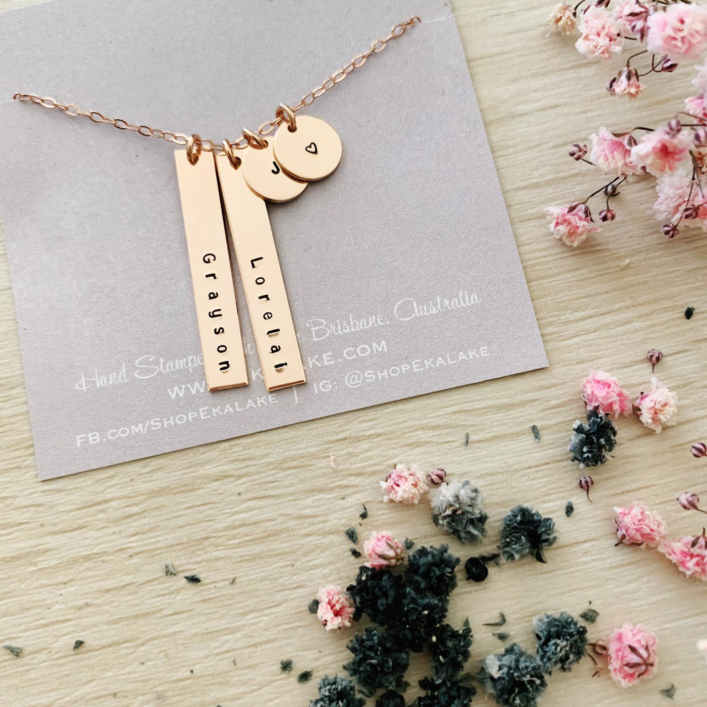 2 Names & 2 Initials Necklace - Petite Bars & Mini Discs - Ekalake Handmade Jewellery