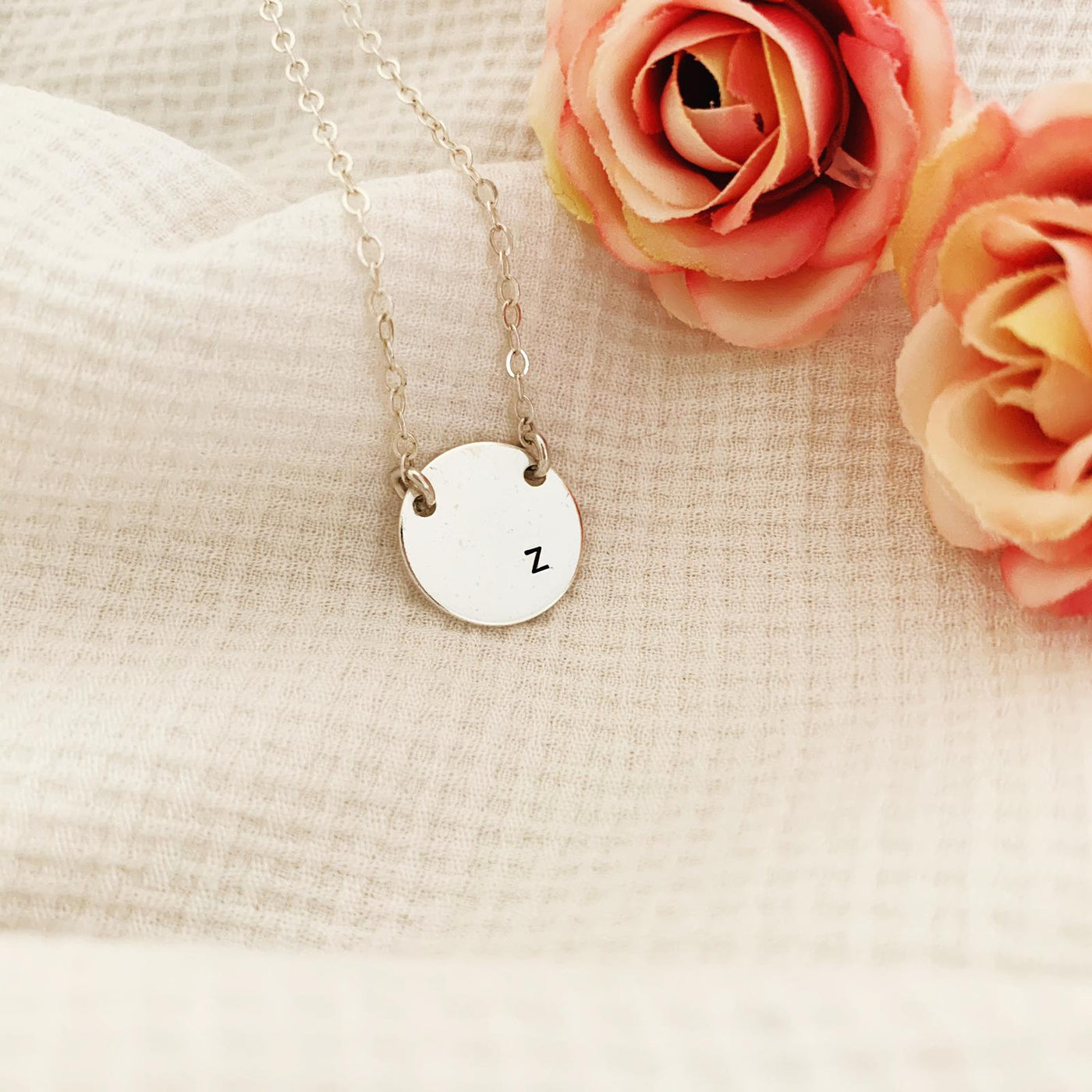 Single Initial Disc Necklace - Midi Disc - 2 holes - Ekalake Handmade Jewellery
