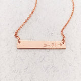 Split Arrow Initials Bar Necklace - Petite Bar - Ekalake Handmade Jewellery