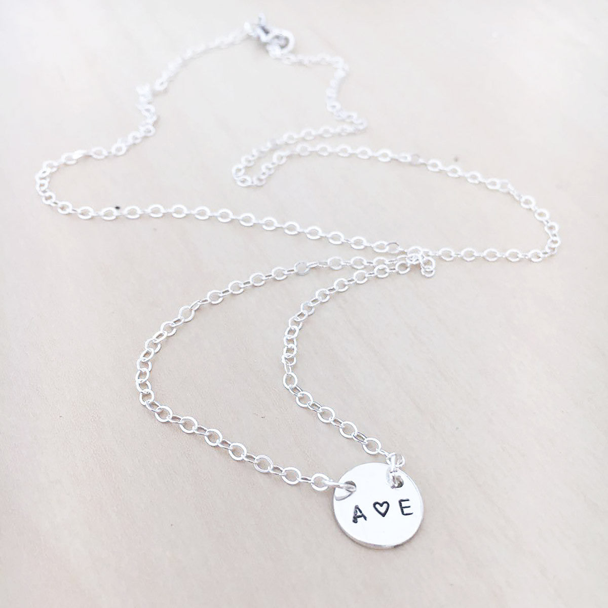 Double Initials Necklace - Single Mini Disc - 2 Holes - Ekalake Handmade Jewellery