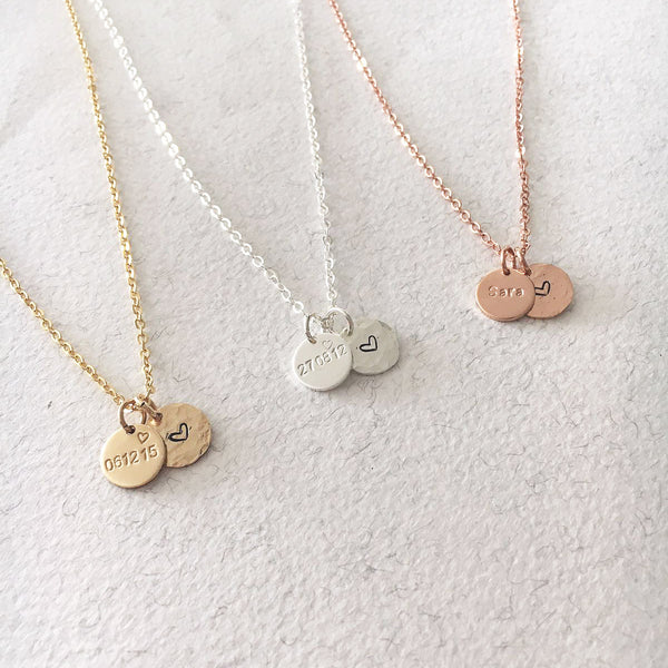 Date & Love Heart Necklace - Double Mini Discs - Ekalake Handmade Jewellery