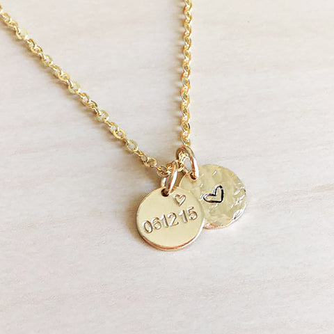 Date & Love Heart Disc Necklace - Textured Disc | Initials | Name