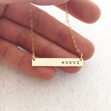 Family Initials Necklace - Petite Bar - Ekalake Handmade Jewellery