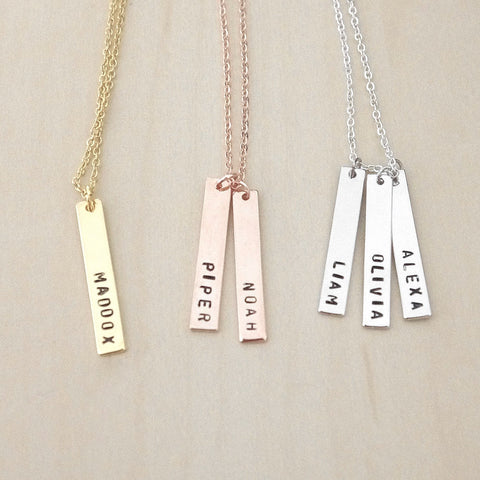 Vertical Hanging Bar Necklace - Personalised Initials | Roman Numerals | Hand Stamped