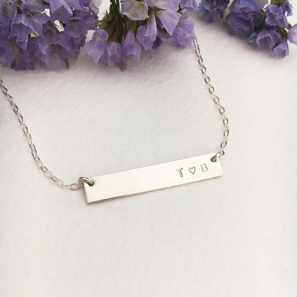 Double Initials Bar Necklace - Petite Bar - Ekalake Handmade Jewellery