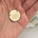 Family Names Disc Necklace - X Large Disc - Ekalake Handmade Jewellery