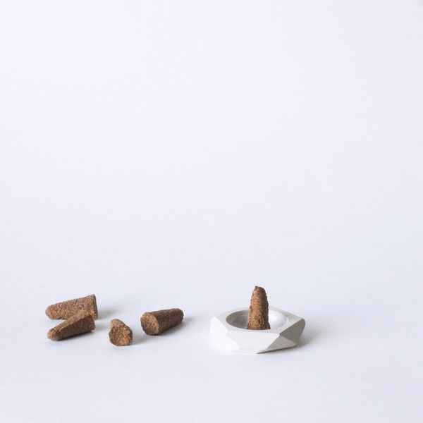 standard wax palo santo incense cones and ceramic holder