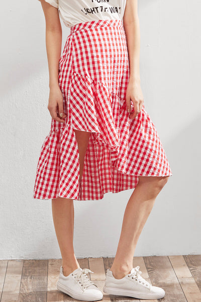 Ashia Red Gingham Midi Wrap Skirt
