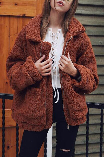 Acadia Oversized Brown Faux Shearling Borg Coat