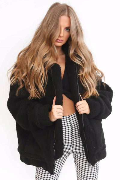 Acadia Oversized Black Faux Shearling Borg Coat
