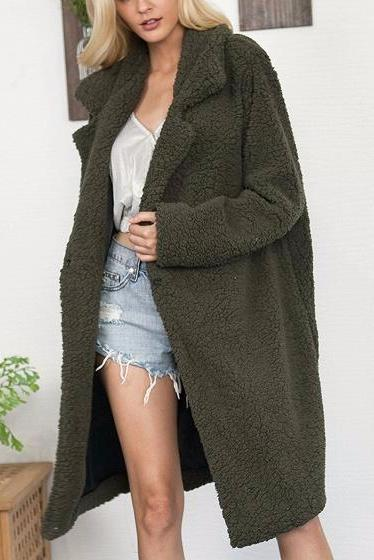 Acadia Long Dark Green Faux Shearling Borg Coat