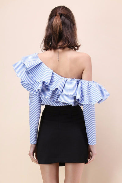 Vanessa One Shoulder Ruffle Striped Top