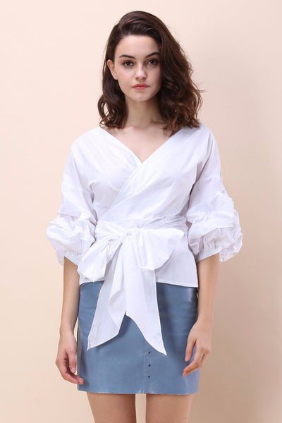 Camilla White Wrap Top
