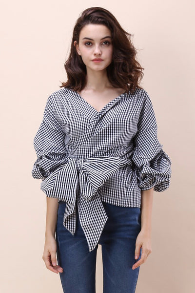 Camilla Gingham Wrap Top