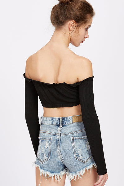 Liza Off Shoulder Ribbed Bandeau Top