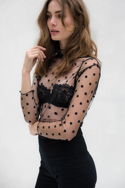 Polina Sheer Black Polka Dot Top