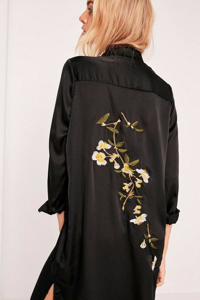 Dress - Aria Silky Black Embroidered Shirt Dress