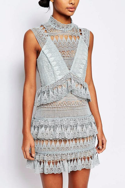 Dress - Evangeline Light Blue Lace Dress