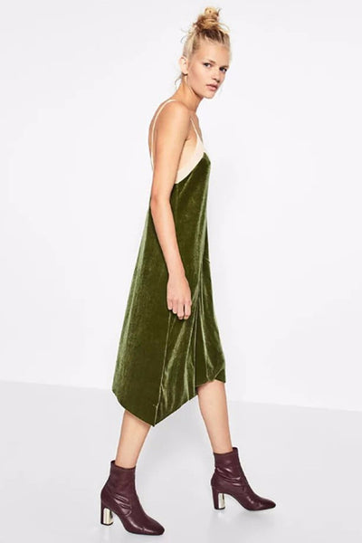 Dress - Gwyneth Velvet Green Emerald Slip Dress