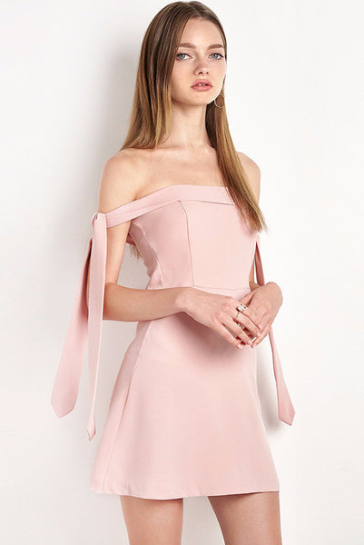 Dress - Katiya Dusty Pink Off-The-Shoulder Dress