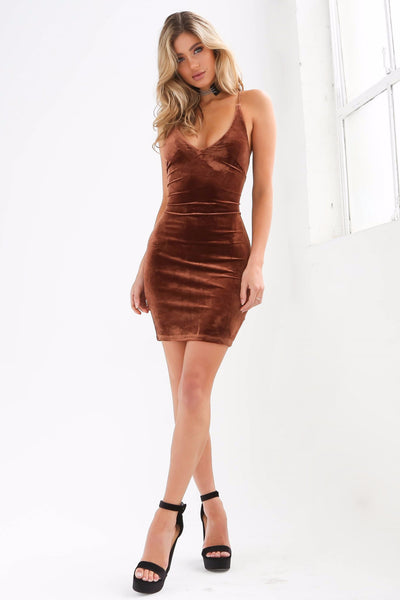 Dress - Valerie Bronze Velvet Slip Dress