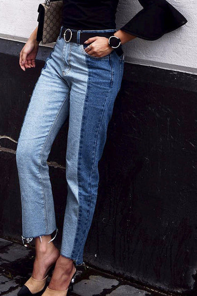 Half and Half Two Tone Cropped Ankle Denim Jeans