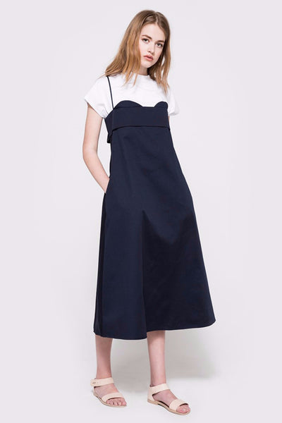 Chelsea navy blue midi spaghetti strap dress