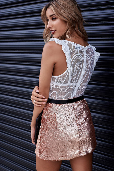 Regina Rose Gold Sequin Mini Skirt