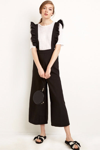 Pant - Nora Black Overall Ruffled Jumpsuit