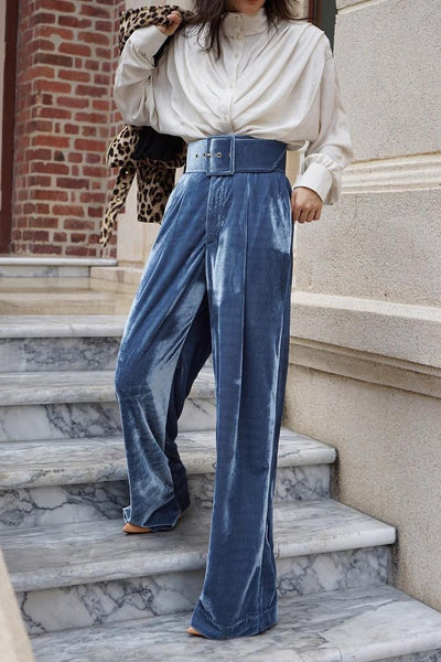 Pant - Penelope Blue Velvet High Waisted Pants