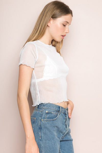 Scotty White Mesh Crop Top