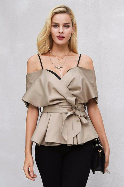 Malia Off-The-Shoulder Wrap Top