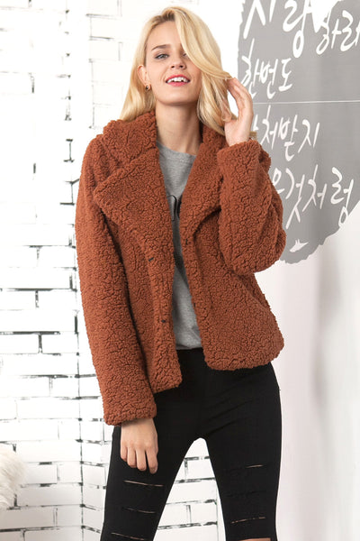 Acadia Short Brown Faux Shearling Borg Coat