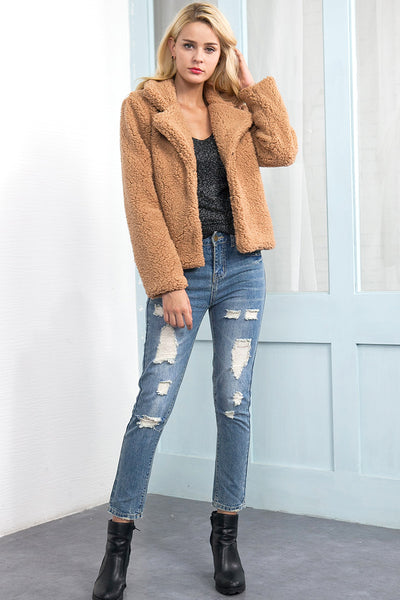 Acadia Short Camel Faux Shearling Borg Coat