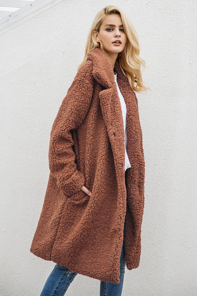 Acadia Long Brown Faux Shearling Borg Coat