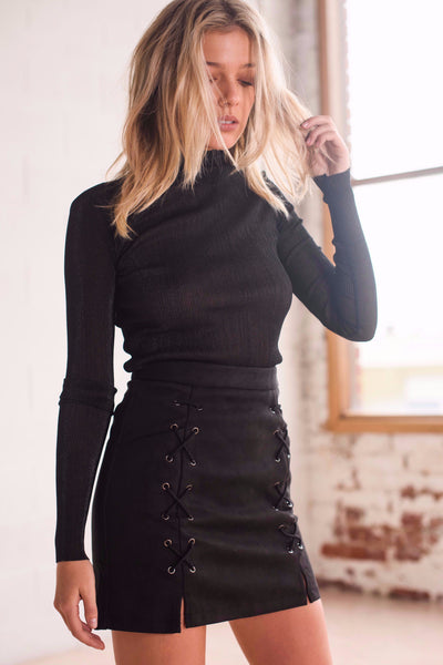 Skirt - Ariana Black Suede Lace Up Pencil Skirt