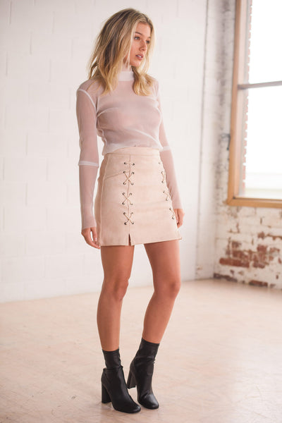 Skirt - Ariana Lace Up Pencil Skirt Light Pink Suede